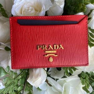 Prada Red card holder with gold hardware